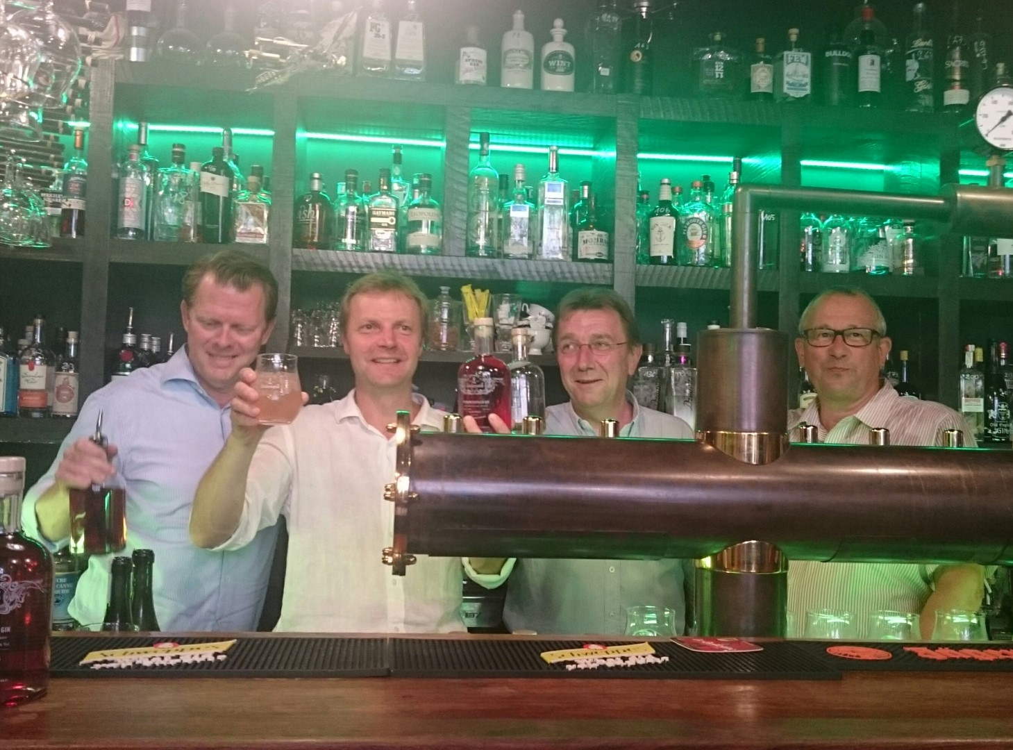 instigators of the evening were, from left, Manuel Wouters, Dirk Lindemans, Patrick Van Schandevijl from Stokerij De Moor and Maurits Van Den Eynde